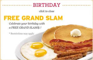 Visit Denny's for a Free Grand Slam on Your Birthday