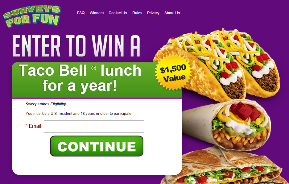 Win Taco Bell Lunch For a Year! (US only)