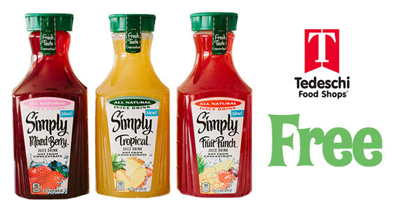 Free Bottle of Simply Juice at Tedeschi Foods (US only)