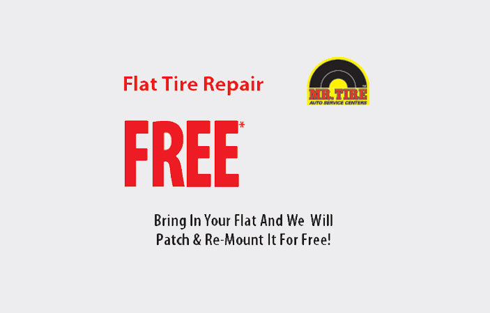 FREE Flat Tire Repair, Tire Rotation/inspection, and TPMS check at Mr. Tire (US only)