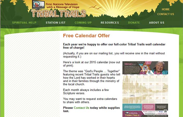 FREE 2016 Full-Color Tribal Trails Wall Calendar (US only)