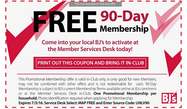 FREE 90-day BJ's trial membership (US)