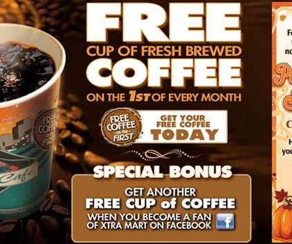 FREE Coffee at Xtra Mart on the 1st of Every Month! (US only)