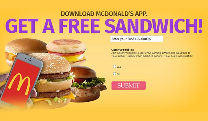 FREE McDonalds Sandwich (US Only)