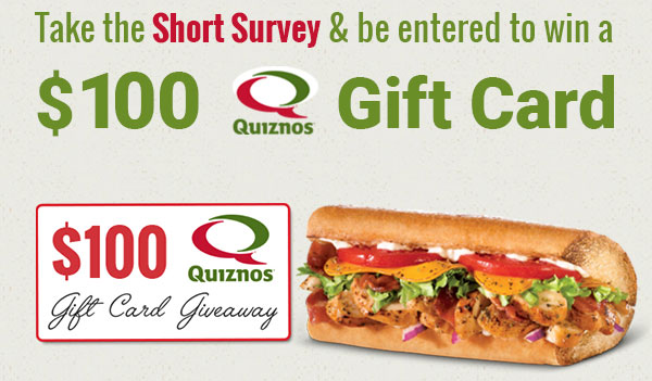 $100 Quizno's Gift Card (US)