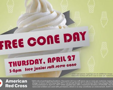 FREE Cone Day at Carvel on Thursday, April 27 (US Only)