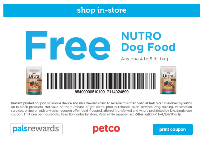 Petco Printable Coupon: Free 4-5 Lb. Bag of Nutro Dog Food (US Only)