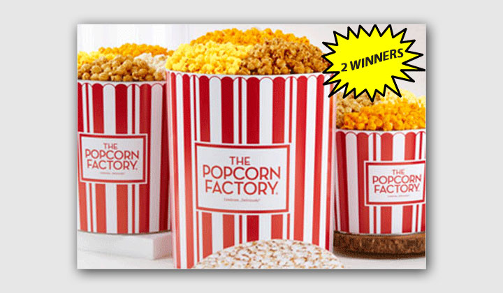 The Popcorn Factory 3 1/2 Gallon 3 Flavor Popcorn Tin Giveaway! (US Only)