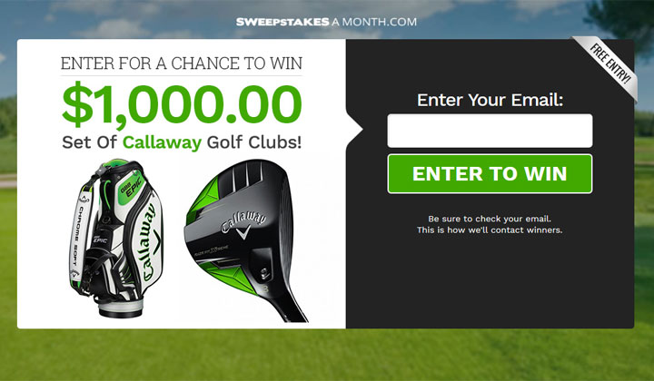 Sweepstakes a Month – $1000 Callaway Golf Clubs (US Only)