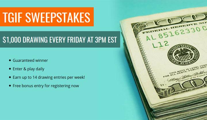 TGIF $1000 Sweepstakes Draw (US, UK, CA, AU & NZ Only)