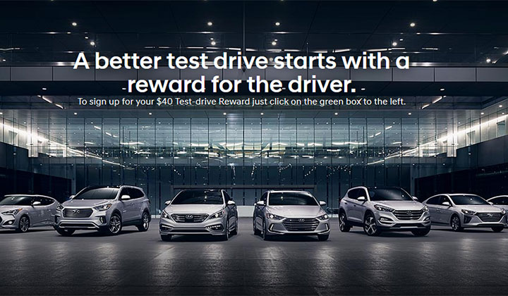 FREE $40 Gift Card For Test Driving a New Hyundai