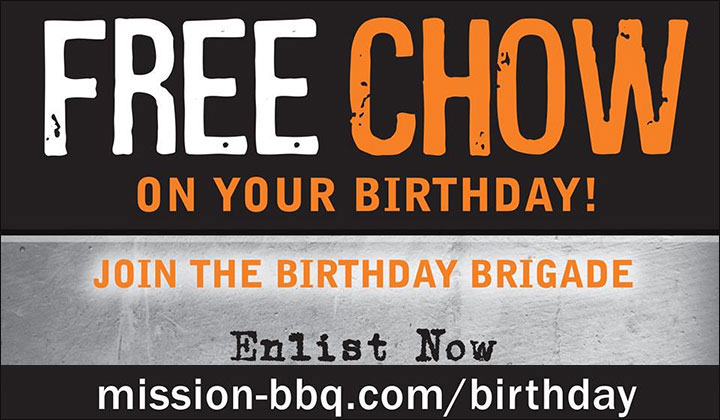 FREE Mission BBQ Sandwich for signing up and on you birthday (US Only)