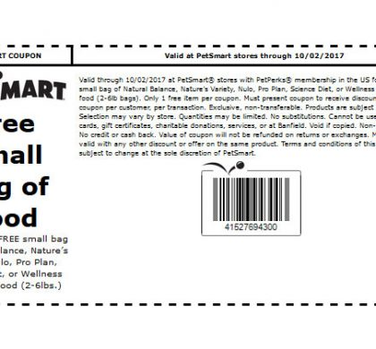 PetSmart In-Store Coupon: FREE Small Bag of Select Dog or Cat Food (US Only)