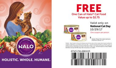 FREE Halo Cat Food Coupon on National Cat Day (Value up to $2.75)