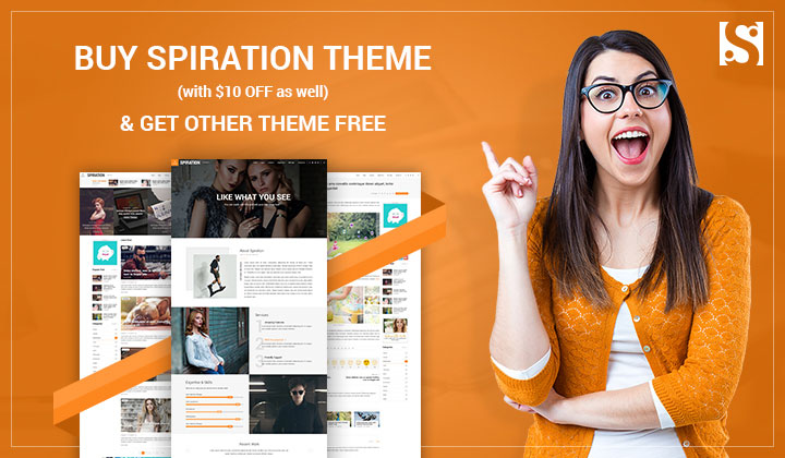 Buy 1 Get 1 FREE: Spiration Magazine WordPress Theme along with Double Freebies