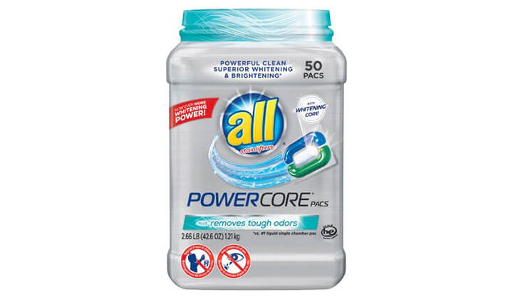 All Powercore Pacs Laundry Detergent Plus Removes Tough Odors