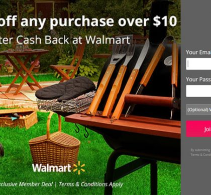 Get $10 Off Any Purchase Over $10 at Walmart after cash back