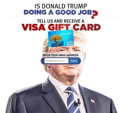 Is Donald Trump Doing a Good Job? Get a VISA Gift Card – One Field