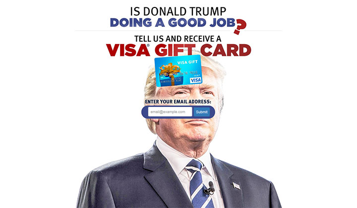 Is Donald Trump Doing a Good Job? Get a VISA Gift Card – One Field