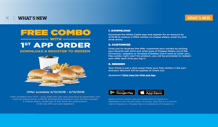 FREE White Castle Combo with App Download (4 cheese sliders, small fry, and small drink)