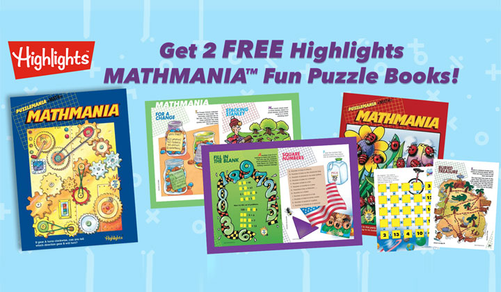 FREE Highlights Mathmania Fun Puzzle Books