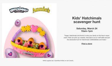 FREE Kids' Hatchimals Scavenger Hunt at Target on March 24th