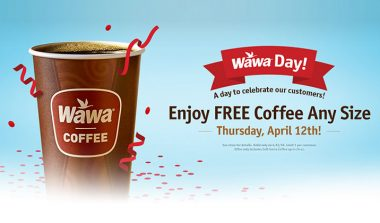 Wawa Free Coffee Any Size on Thursday, April 12th