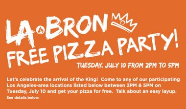 Get Free Pizza On Tuesday, July 10 from 2PM o 5 PM